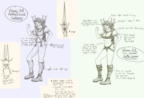 Zeetha costume idea drawings by gadren