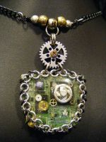 circuits and gears necklace by BacktoEarthCreations