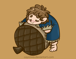 Hobbit - Chibi Bilbo Baggins and his Acorn by caycowa
