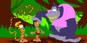 Mowgli meets Marsupilami and Maurice by SammyD91