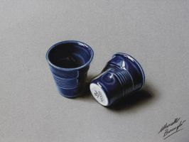 A pair of cool violet pottery coffee cups drawing by marcellobarenghi