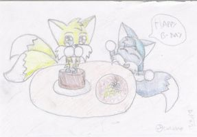 Tails birthday original draw by lurils