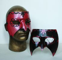 Metallic Red and Black Venetian Mardi Gras Masks by nondecaf