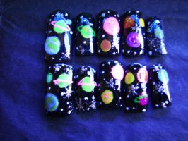 Outer Space Nails by ZeeaDarling