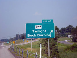 Twilight Book Burning Sign by MrAngryDog