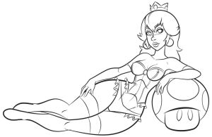 Princess Peach Linework by mackie85