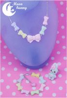 Pastel mint ribbon bow and Marshmallow bunny Set by CuteMoonbunny