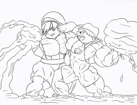 Lana and toph mud fight by astaroth90