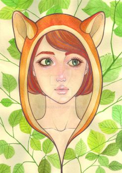 Green eyed Fox girl by pika-piku