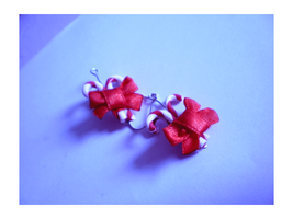 Earrings: candy canes by freedomheart