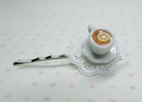 Miniature Teacup with Lemon and Doilee Bobby Pin by kawaiibuddies