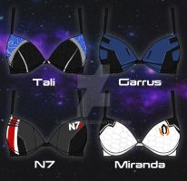 Mass Effect Bra designs by OhSadface