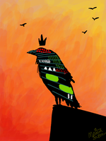 crow with crown by BLACK-CROWN