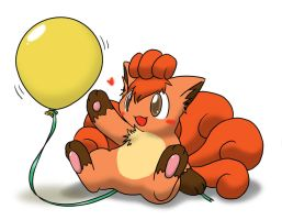 Vulpix and balloon 1 by Wingfox