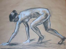 sketch of woman all fours by Haeddre