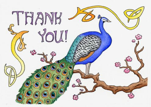 Peacock Thank You Card by gnarlycat