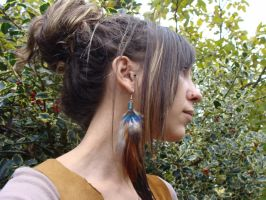 Handmade Long natural feathers Earring by noisypixie