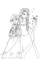 Do you wanna build a snowman? Anna and Elsa by Momosangel