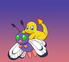 Shiny Charmander and Butterfree by Kat-Skittychu