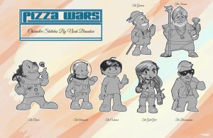 Pizza Wars character sketches by NoahBDesign