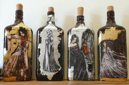 Victoria Frances bottles by Moonchildreaming