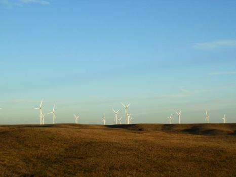 To the West IV: Windmills at Dusk by TheElementress