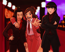 Avatar Ladies in Suits - Azula, Ty Lee + Mai by yinza