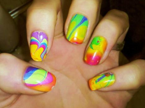 Rainbow Water Marble by Chelseapoops