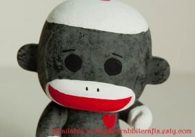 Sock Monkey HeartBot by maskedrabbitcrafts