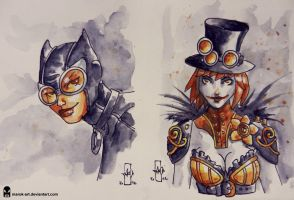 Sketch 058 Catwoman and Duela Dent by MAROK-ART