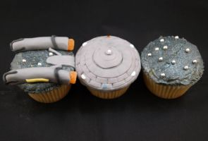 Star Trek Cupcakes USS Enterprise and Space by sparks1992