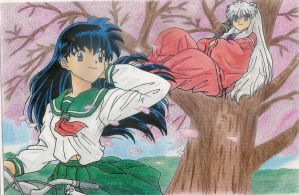 Kagome And Inuyasha Coloured by karentje123