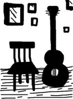 Guitar and Chair by monicasycamore17