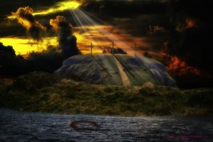 A Wooden Cross and a Crown of Thorns by Branka-Johnlockian