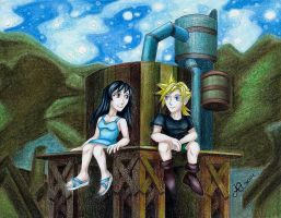 FFVII Scene Flashback: Cloud and Tifa as Kids by LadyJuxtaposition