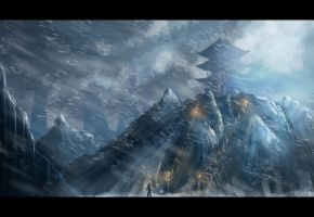 Temple in the mountains Study by ChrispyDee