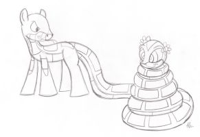 Kaa Pony catches Orchid sketch by lol20