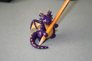 Purple and Gold Dragon Pencil Holder by redninjacreations