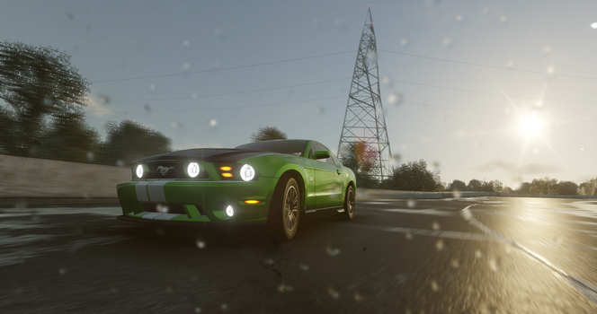 A Green Mustang in the Rain by martincoolwine