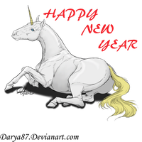 Happy New Year Unicorn by micro-pup