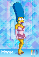 Pinup Girls - Marge Simpson Pose 1 by Chesty-Larue-Art