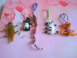 Glass beads animals keychains by Keylhen