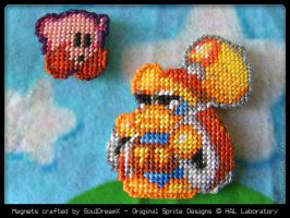 Epic Yarn Adventures - Kirby + Dedede Magnets by souldreamx