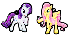 Rarity and Fluttershy Phone charm Designs by Leefuu