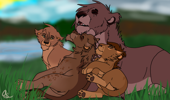 Ahren and her cubs by NokaWolf