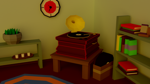 Living room with phonograph [Low Poly] [Blender] by Qurred
