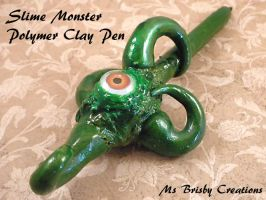 Slime Monster Polymer Clay Pen full view by Brisbykins