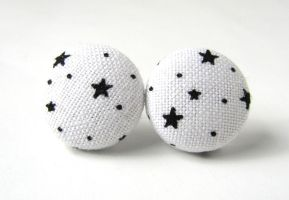 White earrings with stars by KooKooCraft