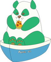 Panda In A Boat Eating Pizza by leogal