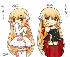 Chii and Freya Colored by amibluegirl